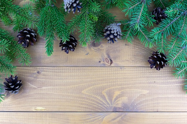 Christmas tree branches with red decorations on a wooden wall background.