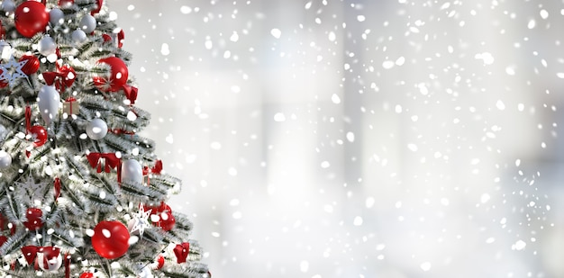 Christmas tree , bright white background and snow