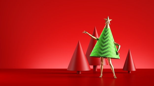 Christmas tree cartoon character with golden legs