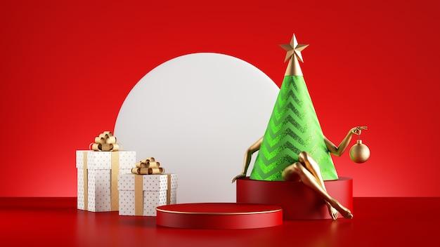 Персонаж рождественской елки зеленый конус с золотыми модельными ногами, изолированные на красном фоне