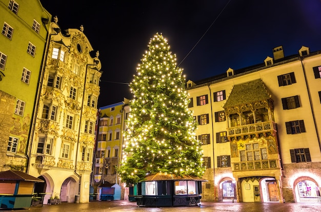 Christmas tree in the city centre of innsbruck - austria