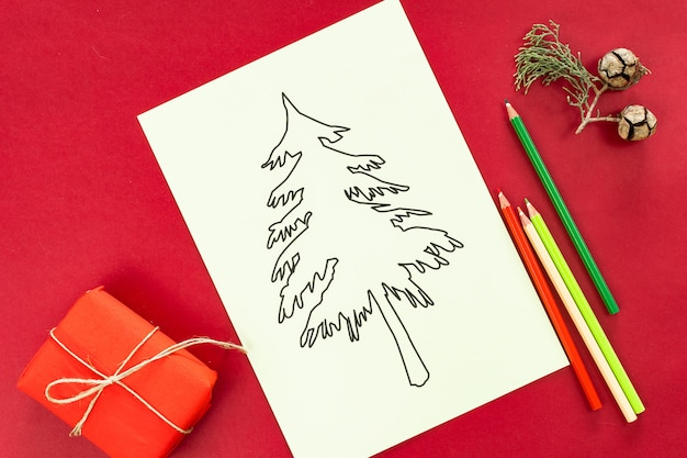 Christmas tree for coloring on red