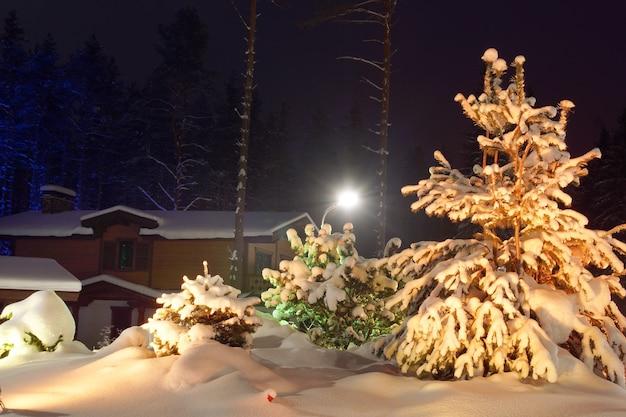 コテージの横に雪に覆われたクリスマスツリー
