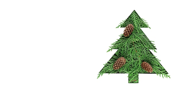 Рождественская елка вырезанная из бумаги на белом фоне. силуэт елки с зелеными еловыми ветками. карточка дизайна вырезывания бумаги рождественской елки. бумажное искусство с копией пространства. длинный широкий баннер