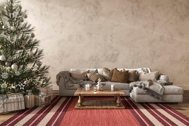 크리스마스 트리 장식 현대적인 인테리어 스타일 3d 렌더링 그림 농가 거실