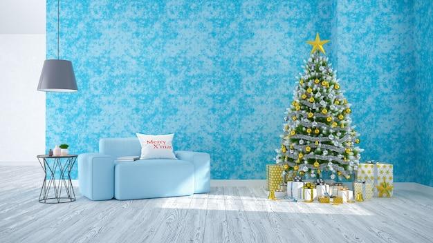 クリスマスツリーが飾るリビングルームの近代、青い壁と木の床に青いソファ