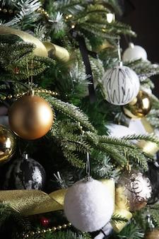 Christmas tree decorated. happy holiday!