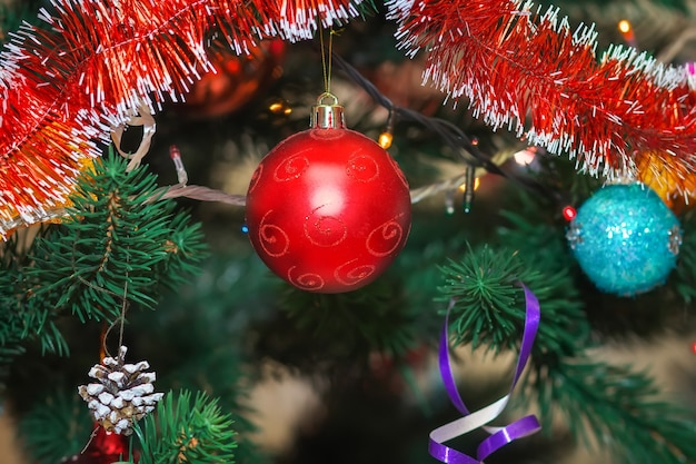 Christmas tree decorated with colored balls