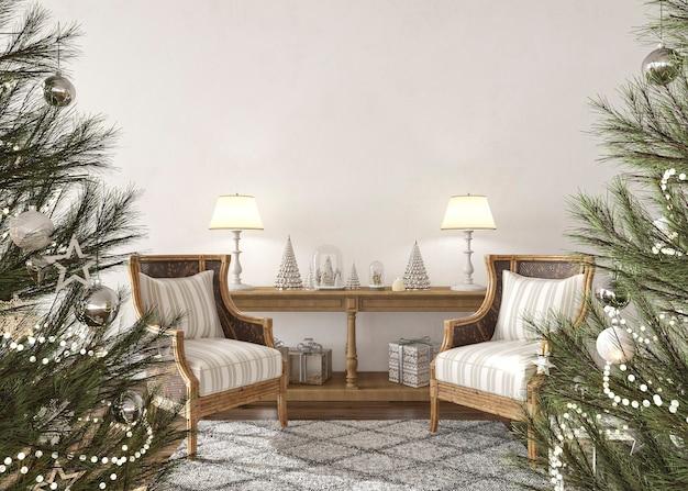 농가 내부 거실 3d 렌더링 그림에서 장난감으로 장식된 크리스마스 트리