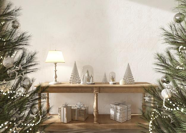 현대 스칸디나비아 농가 내부 3d 렌더링 그림에서 장난감으로 장식된 크리스마스 트리