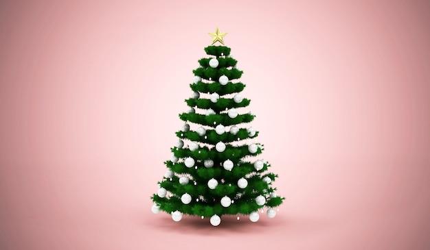 Рождественская елка, украшенная игрушками на фоне студии