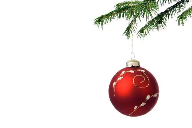 白い背景の上のクリスマスツリーの装飾と枝モミ