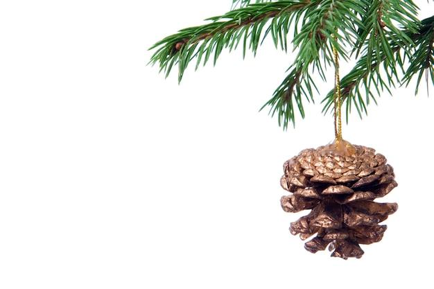 白い背景の上のクリスマスツリーの装飾コーンとモミの枝