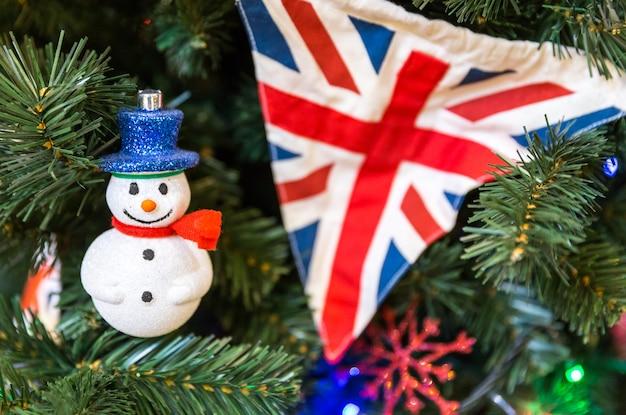 Christmas tree decoration with british flag