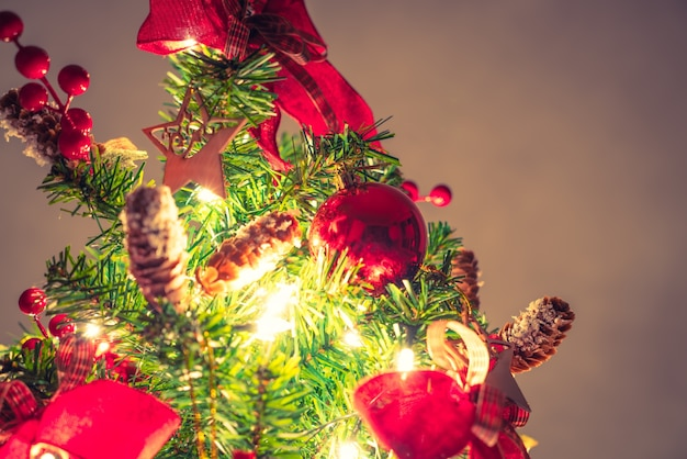 Christmas tree and decorations ( filtered image processed vintag