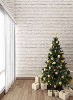 Christmas tree decorations with cosy living room