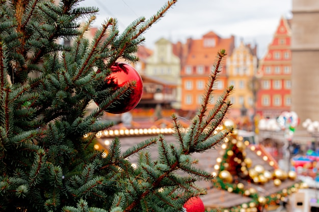 Christmas tree deocration, baubles on market in wroclaw, poland