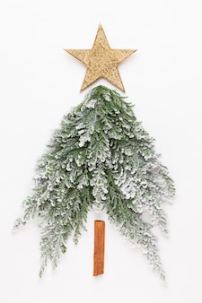 Christmas tree flat lay on the gray background.