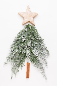 Christmas tree flat lay on the white background.