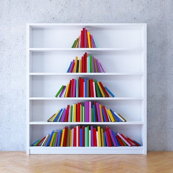 Christmas tree from books on the shelf, 3d rendering
