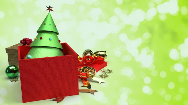 Christmas tree in gift box 3d rendering for christmas content.