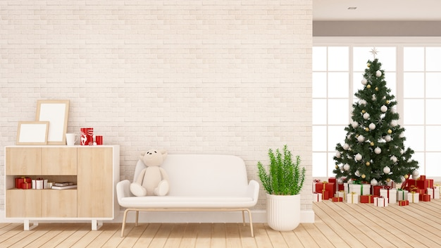Christmas tree and gift box in living room or kid room
