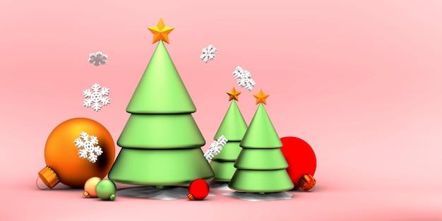 ピンクの側面にボール降雪のクリスマスツリーゴールドスター