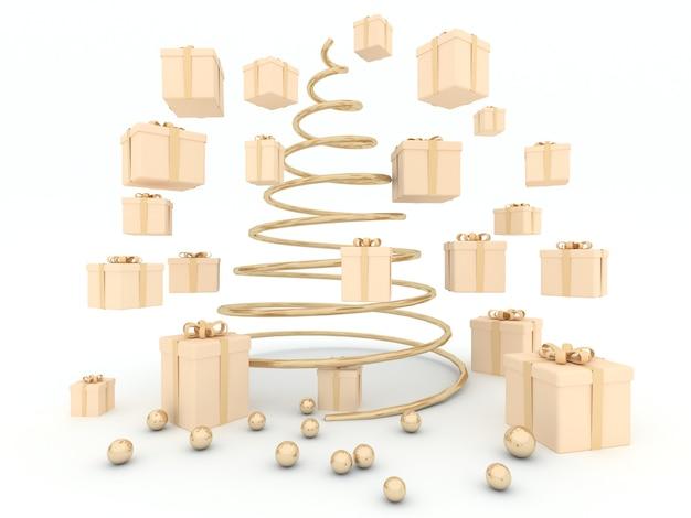 선물 상자와 흰색 배경 크리스마스 트리 골든 라운드 공. 3d 렌더링
