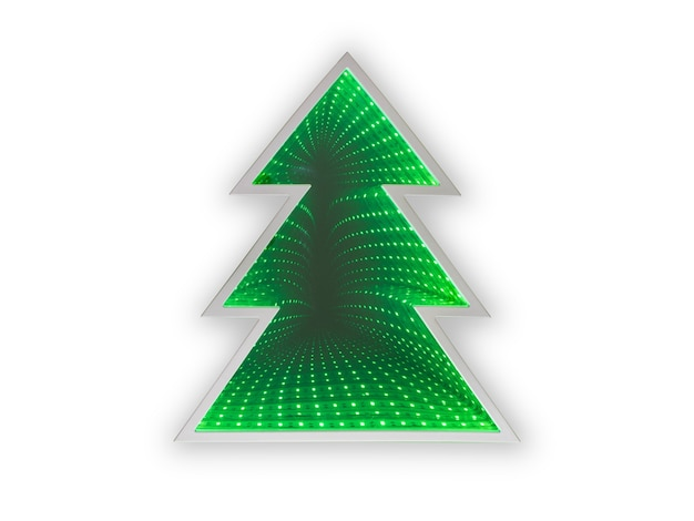 흰색 배경에 조명 크리스마스 트리
