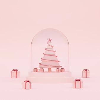 Рождественская елка в хрустальном шаре на розовом фоне 3d-рендеринга