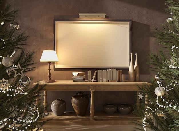 스칸디나비아 농가 내부의 크리스마스 트리, 야간 조명실 3d 렌더 일러스트레이션