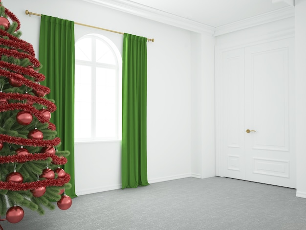Christmas tree in luxurious living room