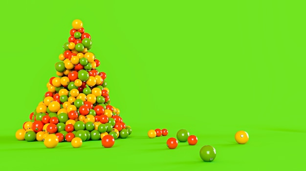 Christmas tree made of colorful balls on a green background. new year concept. 3d rendering illustration.