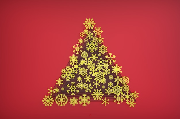 Christmas tree made of gold paper snowflakes 3d illustration
