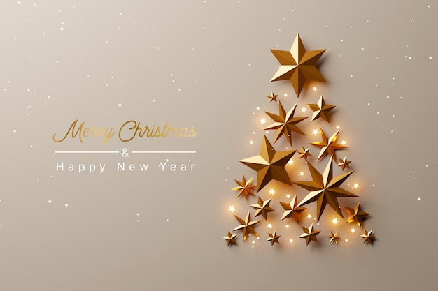 Christmas tree made of gold stars on luxury gold background christmas and happy new year concept