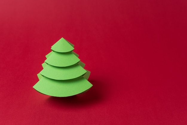Christmas tree made of green paper