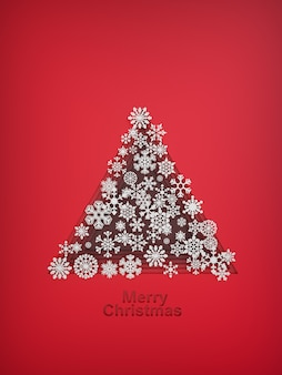 Christmas tree made of paper snowflakes 3d illustration