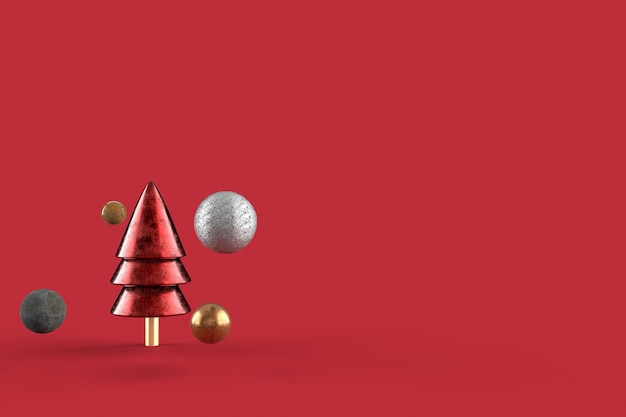 Christmas tree minimalist wallpaper . 3d rendering . merry christmas concept