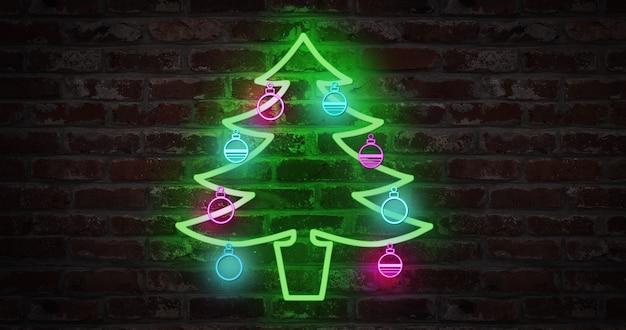 レンガの壁にクリスマスツリーのネオンサイン