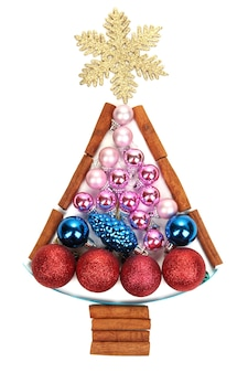 白で隔離のクリスマスおもちゃのクリスマスツリー