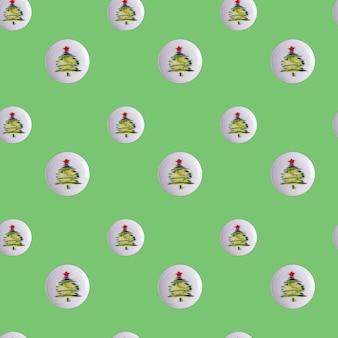 緑の背景のシームレスなパターンの丸いプレートにキュウリとコショウのクリスマスツリー