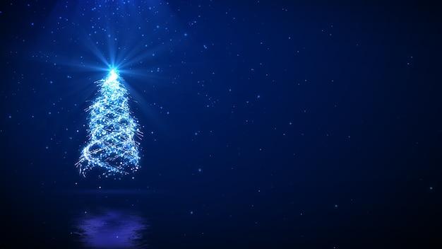 あなたのテキストのコピースペースと青い背景の上のクリスマスツリー