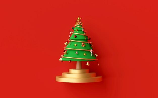Рождественская елка на красном фоне 3d-рендеринга