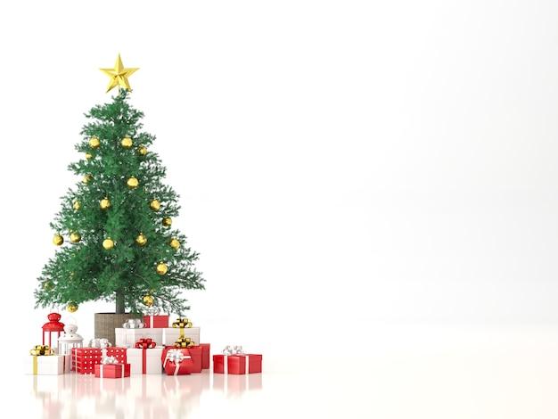 흰색 배경에 크리스마스 트리 3d 렌더링, 빨간색과 흰색 선물 상자로 장식합니다.