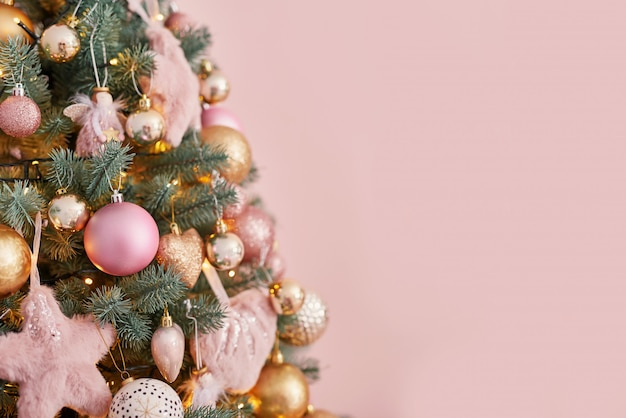Christmas tree in pink background