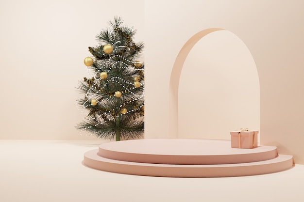 A christmas tree and a present with soft rose gold circle stage