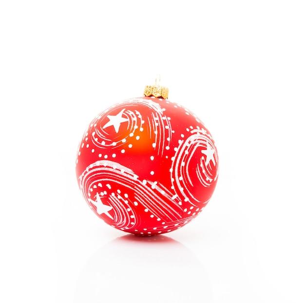 흰색 배경, 근접에 고립 된 크리스마스 트리 빨간 공