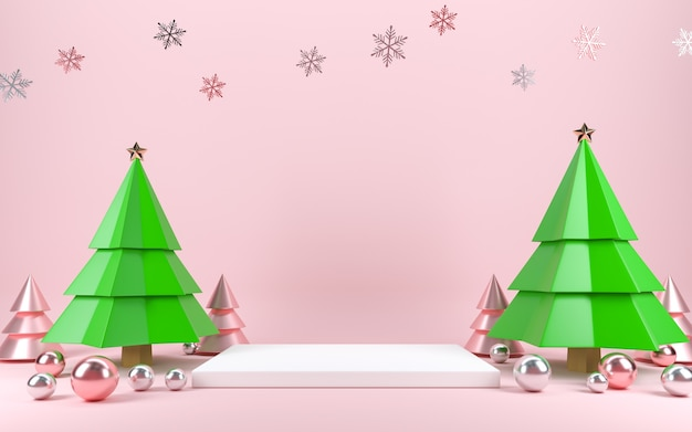 Christmas tree scene concept decoration with empty space for text.