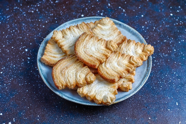 Christmas tree shaped puff pastry cookies.