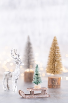 Christmas tree on silver bokeh background